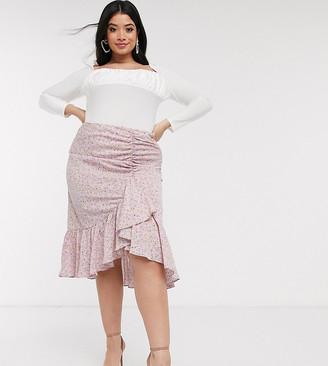 Pretty Darling Plus floral gathered ruffle midi skirt