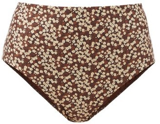 Matteau The High Waist Floral-print Bikini Briefs - Brown Print