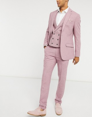 Topman slim fit wool suit trousers in pink