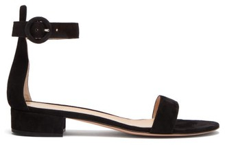 Gianvito Rossi Portofino 20 Block-heel Suede Sandals - Womens - Black