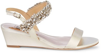 Badgley Mischka Larisa Embellished Satin Wedge Sandals