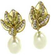 Chanel Floral Pearl Rhinestone Dangle Earrings