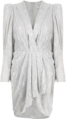 IRO Metallic Gathered Mini Dress