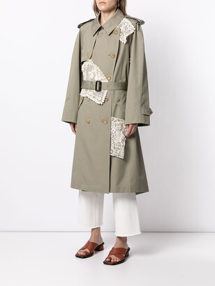 GOEN.J Double-Breasted Lace-Paneled Trench Coat