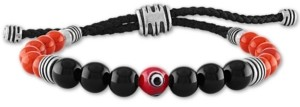 Esquire Men's Jewelry Multi-Stone Evil-Eye Bead Boho Bracelet in Sterling Silver, Created for Macy's