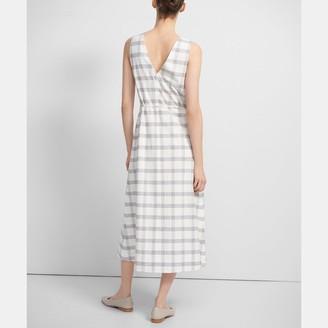 Theory Deep V Midi Dress in Spring Plaid