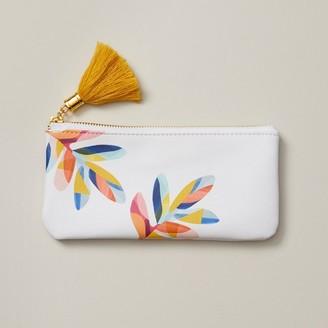 Indigo Paper Small Pencil Pouch Boho Bright Multi-Colour Leaves