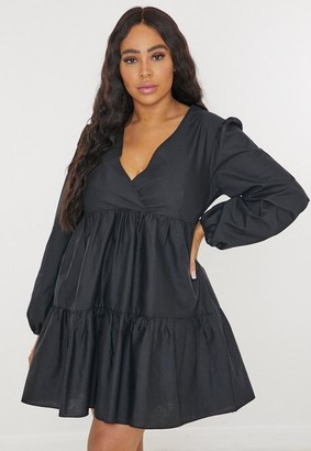 Missguided Plus Size Black V Neck Tiered Smock Dress