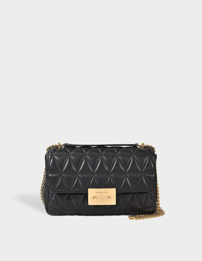 MICHAEL Michael Kors Sloan Large Chain Shoulder Bag in Black Pyramid Quilted Lamb Leather