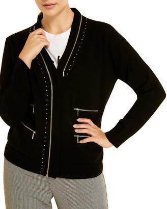 Marina Rinaldi Plus Size Muurlink Wool-Blend Cardigan with Zip Details