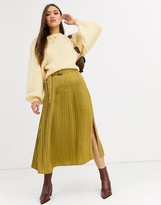 Neon Rose pleated midi skirt with belt in hammered satin