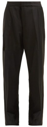 Wales Bonner Satin-panel Wool-twill Trousers - Black