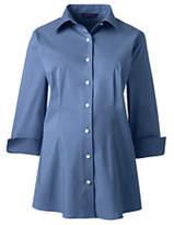 Lands' End Women's Maternity 3/4 Sleeve Stretch Broadcloth Shirt-Soapstone Windowpane