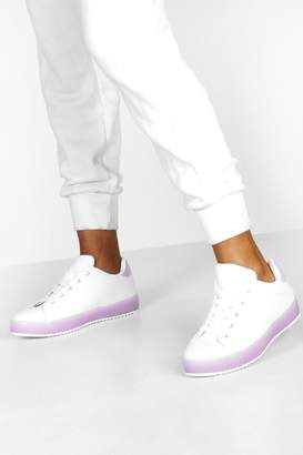 boohoo Translucent Sole Flat Lace Up Trainers