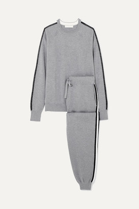 Olivia von Halle Missy London Striped Silk And Cashmere-blend Sweatshirt And Track Pants Set - Gray