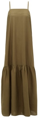 Adriana Degreas Square-neck Gathered Voile Maxi Dress - Womens - Green