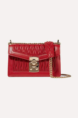 Miu Miu Matelassé Leather Shoulder Bag - Red