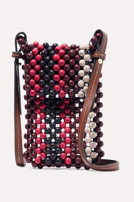 Ulla Johnson Dumi Faux Leather-trimmed Beaded Shoulder Bag - Red