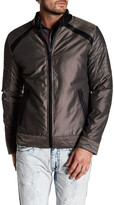X-Ray Nylon Topstitched Faux Leather Trim Jacket