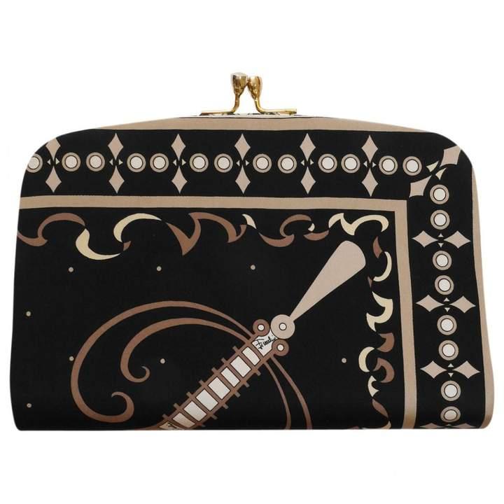 Emilio Pucci Vintage Black Silk Clutch Bag