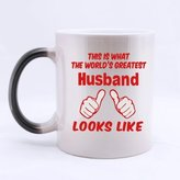 "Special Magic Gift For Christmas / New Year / Birthday - Ceramic Morphing Mug - Fashion Design Red ""THIS IS WHAT THE WORLD'S GREATEST HUSBAND LOOKS LIKE "" 11 Ounces Heat Sensitive Color Changing Custom Coffee/Tea Mug"