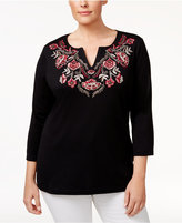 Karen Scott Plus Size Embroidered Top, Created for Macy's