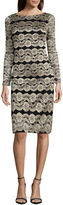 Jessica Howard Long Sleeve Lace Stripe Shift Dress