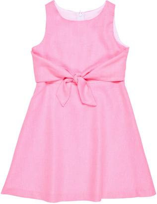 Florence Eiseman Girl's Front-Tie Pique Sleeveless Dress, Size 7-12