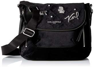 Karl Lagerfeld Paris CARA Velvet Applique Flap Messenger