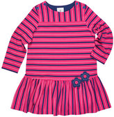 Florence Eiseman Stripe Button-Shoulder Dress w/ Flower Detail, Size 2-6X