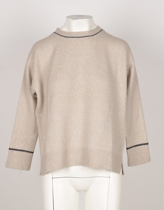 Bruno Manetti Beige Wool & Cashmere Blend Women's Sweater