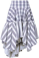 Antonio Berardi Ruffled Checked Cotton-blend Poplin Skirt - Blue