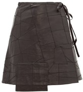 Ganni Patchwork Leather Wrap Skirt - Womens - Black