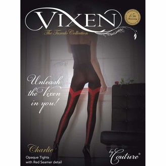 Couture Womens/Ladies Vixen Charlie Opaque Tights with Seam (1 Pair) (Medium (5ft-5ft8a)) (Black)