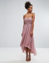 Little Mistress Pleated Bandeau Maxi Dress