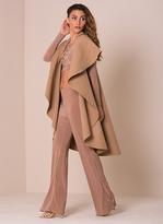 Missy Empire Zandra Camel Waterfall Sleeveless Coat