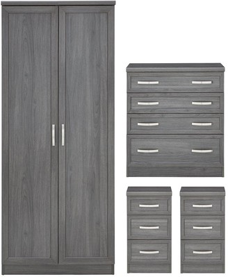 Camberley 4 Piece Package - 2 Door Wardrobe, 4 Drawer Chest and 2 Bedside Chests