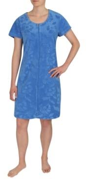 Miss Elaine Plus Size Micro-Terry Short Zipper Robe