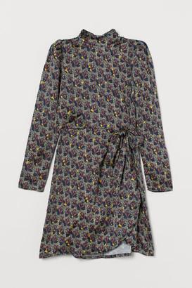 H&M Satin Wrap-front Dress - Blue