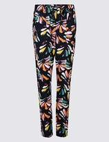 Marks and Spencer Linen Rich Floral Print Tapered Leg Trousers