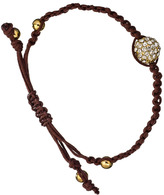 Blu Bijoux Brown And Gold Crystal Paved Shamballa Bracelet