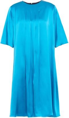 Roksanda Pleated Two-tone Silk-satin And Twill Mini Dress