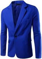 Pishon Men's Slim Fit Blazer Jacket Solid Cotton Casual One Button Sport Coats
