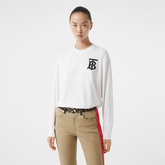 Burberry ong-seeve Monogram Motif Cotton Top