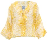 Thierry Colson Viola Chanderi Abstract-print Cotton-blend Blouse - Womens - Yellow