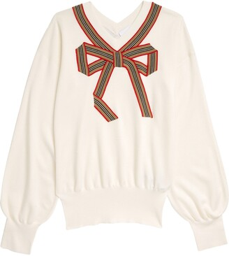Burberry Kids' Arabelle Icon Stripe Bow Wool & Silk Sweater