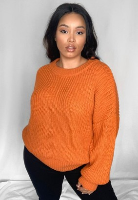 Missguided Size Orange Chunky Crew Neck Knitted Jumper