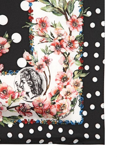 Dolce & Gabbana Dotted Silk Twill Square Scarf