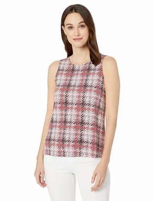 Nine West Women's Sleeveless Plaid Printed ITY