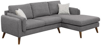Lilola Home Founders Linen Fabric Right Facing Sectional Sofa Chaise, Light Gray